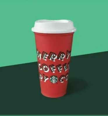 Starbucks Red Reusable Cup Grande 16oz MERRY COFFEE 2019 Christmas FREE SHIPPING