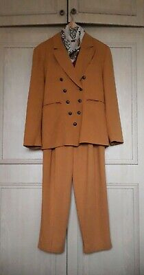 Fabulous OuiSet Vintage Original 80's MUSTARD Two Piece Suit Size 38
