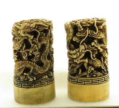 Vintage Carved Pair Chinese Dragon Seals