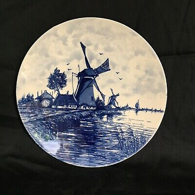 "Vintage Blue Delft Blauw Hand Painted Holland Windmill Collectible 8"" Plate"