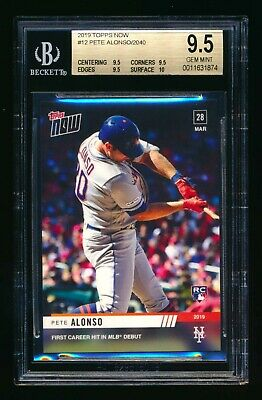 "2019 Topps Now #12 Pete Alonso First Mlb ""Rc"" Logo Mets Bgs 9.5 Gem Mint W/10!"