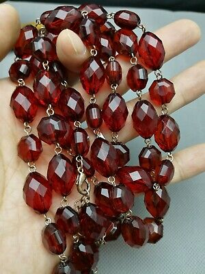 ART DECO VINTAGE Faceted CHERRY AMBER BAKELITE BEADS NECKLACE 72 G - Large
