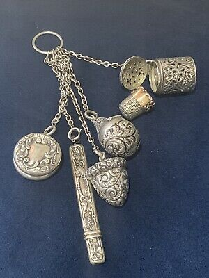 Old Sterling Silver 6 Piece Victorian Chatelaine