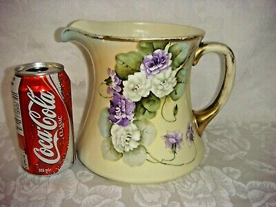 Antique Large Cider Pitcher Tankard Vienna China Austria Hand Painted Signed