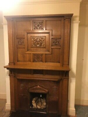 Solid wood (likely oak) antique Arts & Crafts fireplace surround