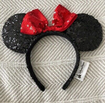 Disney Parks Minnie Mouse Ears Hat Headband Black Red Sequin Bow NWOT EUC