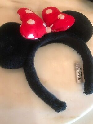 Disney Girls Fluffy Head Band With Red And White Polka Dot Stuffed Bow
