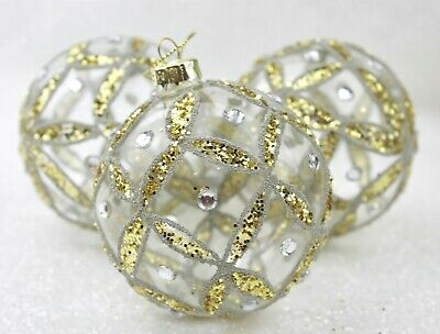 Gisela Graham Christmas Clear Glass With Gold Ribbon Trellis Jewels Bauble X 3