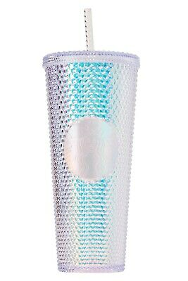 Starbucks Tumbler Studded Platinum Iridescent 24 oz Cold Cup Holiday 2019 Silver