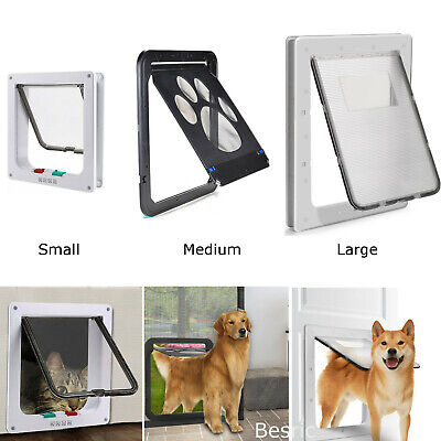 Lockable Pet Flap Screen Door Small Medium Large Pet Dog Cat Safe Wall Door Gate
