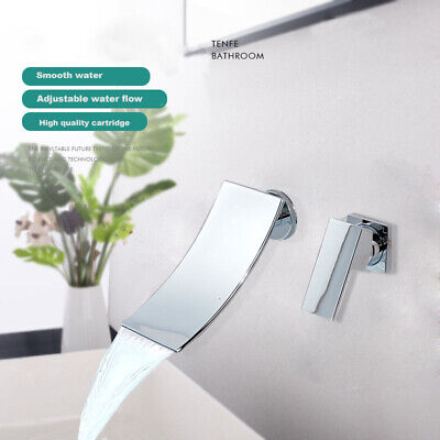 Waterfall Bathroom Sink Faucet Basin  Wall  Mounted With Single Handle Mixer Tap