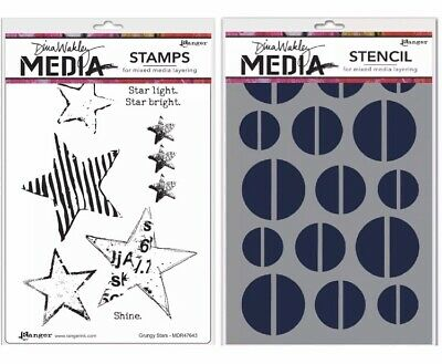 Ranger Diana Walkley Stamp & Stencil Set 'Star Light' ~ 8pc ~ Star Bright
