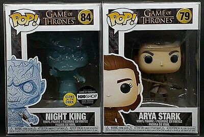Funko Pop + Protector! Game of Thrones #84 Night King HBO & #79 Arya Stark Mint