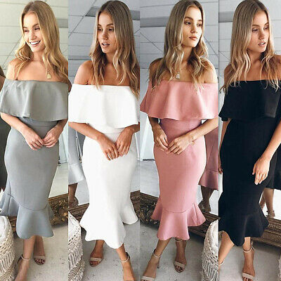 2019 Women Off shoulder Beach Ruffled Boho Dress Ladies Mermaid Holiday Sundress
