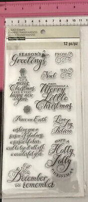 Recollections Clear Stamps ~ A December To Remember ~ 12pc ~ Christmas Themed