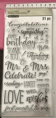 Recollections Clear Stamps ~ 31pc ~ Congratulations Sympathy Love Me Mrs Thank U