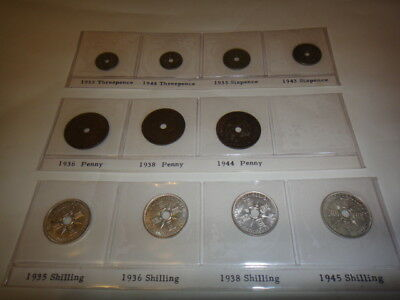 New Guinea Three,Six Pence,Penny,Shilling Coletion 11 Coins From Deceased Estate