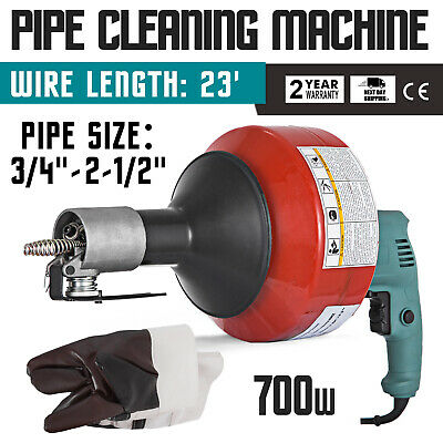 Autofeed Portable Electric Drain Pipe Cleaning Machine 8mm x 7.6m Cables 230V