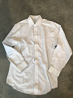 Brooks Brothers Slim Fit No Ferro Blu Bianco Uomo con Bottoni Camicia 15.5/33