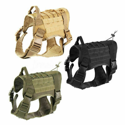 Tactical Police K9 Training Dog Harness Military Adjustable Molle Nylon Vest US