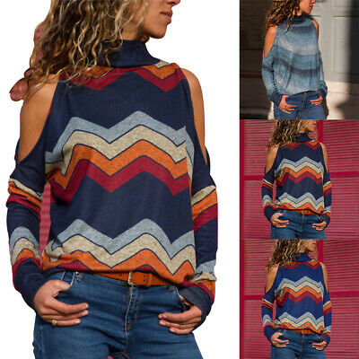 Women Winter High Neck Cold Shoulder Sweater Ladies Pullover Jumper Tops Blouse