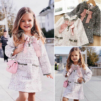 UK Kids Baby Girls Pageant Plaid Coat Tutu Dress Party Outfits Clothes Outerwear