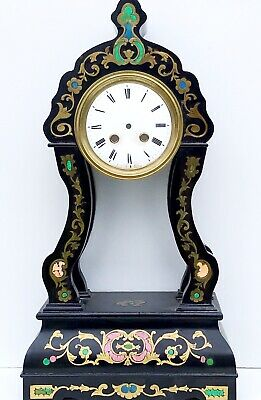 A French Ebonised Portico Clock Case With Brass & Abalone Inlays
