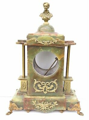 A French Onyx Clock Case With Byron Bust On Top
