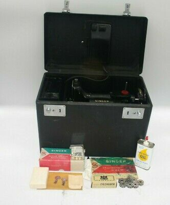 SINGER 221K Featherweight Sewing Machine With Case Pedal, Accessories Rare RED S