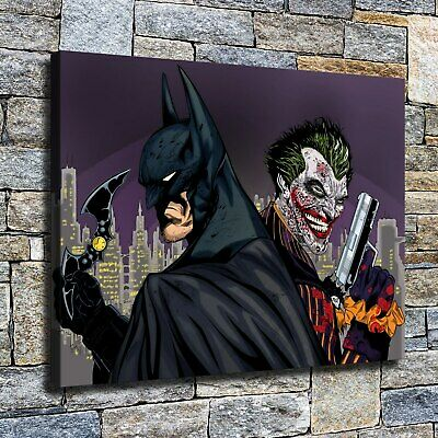 """12""""x22""""Batman and clown HD Canvas prints Painting Home Decor Picture Wall art"""