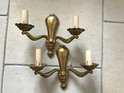 Heavy PAIR French Vintage  Solid Brass  Wall Lights with Twin Candle Sconces