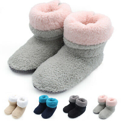 Women's Winter Warm Indoor Plush Slippers Home Ankle Boots Fluffy Floor Socks