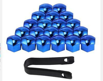 21mm BLUE CHROME Wheel Nut Covers with removal tool fits FIAT DUCATO 2008on