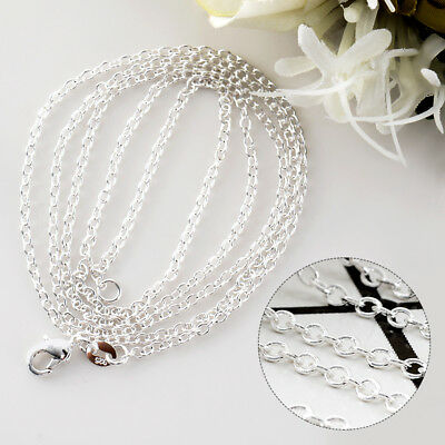 """Wholesale 1PC/5Pcs Silver 2mm O Shaped Chain Necklace Size 16-30"""" Jewelry Lots"""