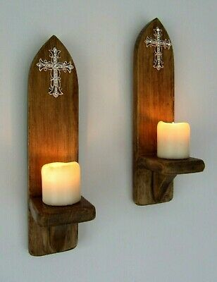 Pair 30Cm Rustic Wood Gothic Church Wall Sconce Led Candle Holders Jeweled Cross