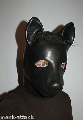Latex Puppy Hood Rubber Black Gummi Dog Full Head Animal Pet Play Mens Man Mask