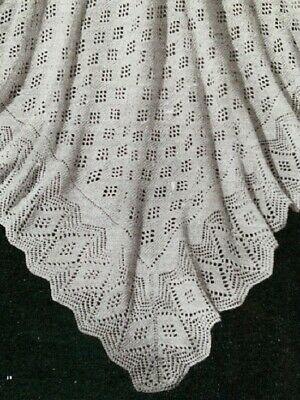 """PRETTY 4-PLY VINTAGE BABY COT BLANKET//SHAWL 31.5/"""" SQUARE KNITTING PATTERN"""
