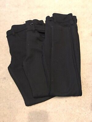 Girls Jersey Skinny Fit School Trousers Black Age 10