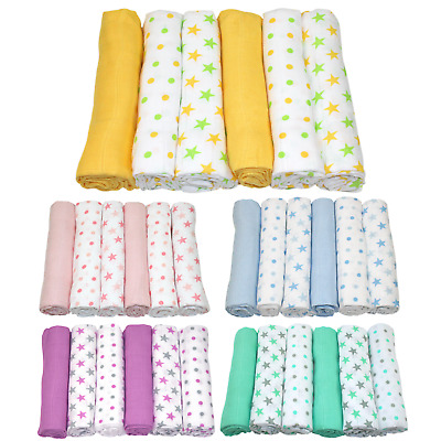 MuslinZ 6PK Baby Muslin Square Cloths 70cm 100% Pure Soft Cotton Star Various
