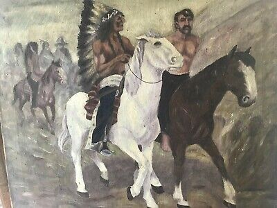 Antique Native American Indian Oil Painting