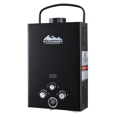 WEISSHORN Gas Hot Water Heater Portable Shower Camping LPG Outdoor Black 4WD