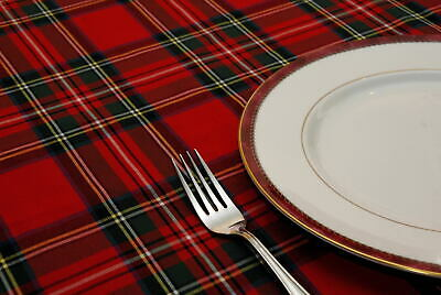 "NEW ROYAL STEWART TARTAN ROUND TABLECLOTH 36"" /58"" Scottish / Burns Night / Xmas"