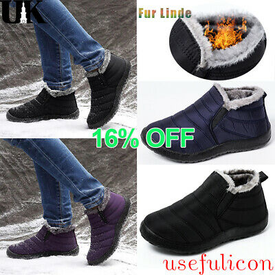 Mens Winter Warm Snow Ankle Boots Slippers Fur Lined Waterproof Slip On Shoes UK