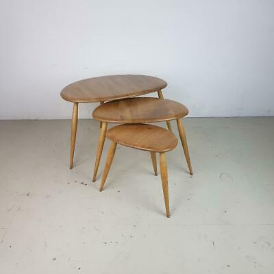 ERCOL NEST BLONDE PEBBLE TABLES COFFEE OCCASIONAL VINTAGE MIDCENTURY 60s #2815