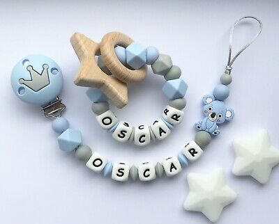 Personalised Dummy Clip And Teether Set -Pacifier Clip - Soother Clip - Blue