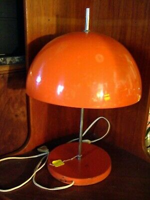 Vintage French Lamp 1970s Orange Metal Dome Shade Retro Space Age-working order