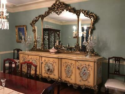 Italian hand carved hand painted buffet with hand carved mirror