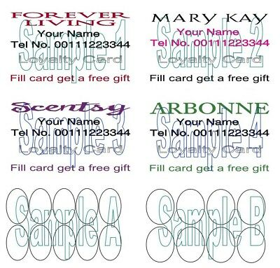 LOYALTY CARDS DOUBLE SIDED 50 for Mary Kay Scentsty Arbonne Forever Living