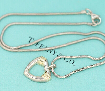 TIFFANY&Co Heart Pendant Necklace Sterling Silver 925 & 18K Gold