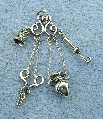 Miniature 925 DOLL Accessory Chatelaine Scissors Thimble Button Hook Vinaigrette